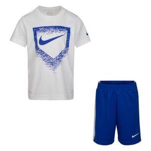 Nike blue white dri-fit shorts set 2036